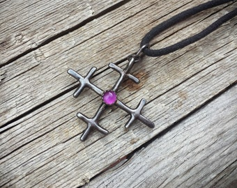 Vintage Sterling Silver Amethyst Cross on Leather Necklace February Birthstone, Purple Stone