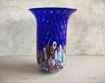 Hand Blown Signed Gambaro & Poggi Murano Blue Millefiori Glass Vase, Vintage Italian Art Glass