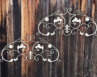 Two Vintage Metal Wall Hanging Pediments Fleur de Lis, Shabby French Brocante Rustic Home Decor