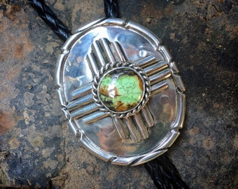 Heavy Sterling Silver Green Turquoise Bolo Tie with Zia Symbol, Western Southwestern Cowboy Fashion