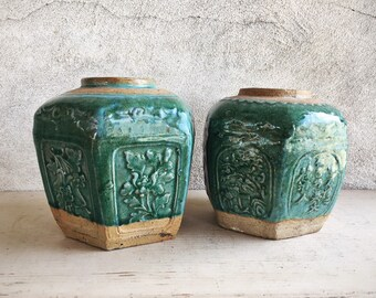Pair of Vintage Chinese Shiwan Pottery Green Glazed Ginger Jars Celadon Earthenware Hexagon Vase