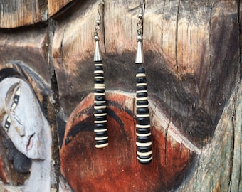 Vintage Black Onyx White Shell Bead Long Earrings Southwestern Jewelry, Native America Indian