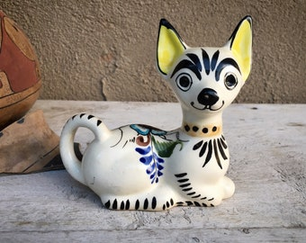 Tonala Mexican Pottery Chihuahua Dog Figurine, Mexico Folk Art, Puppy Gifts for Neighbor