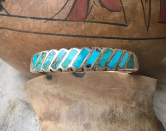 Channel Inlay Row Bracelet Natural Turquoise Cuff for Small Wrist, Zuni Native American Jewelry