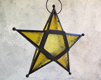 Vintage Metal and Pressed Amber Glass Star Candle Holder, Hanging Moroccan Candle Lantern