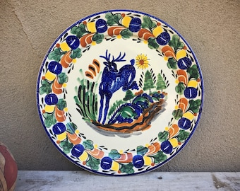 "14"" Diameter Vintage Gorky Gonzales Plate Wall Hanging Talavera Pottery Mexican Folk Art"