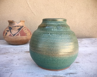 Vintage Pottery Stoneware Vase in Celadon Green, Hand Thrown Signed Art Studio Pot
