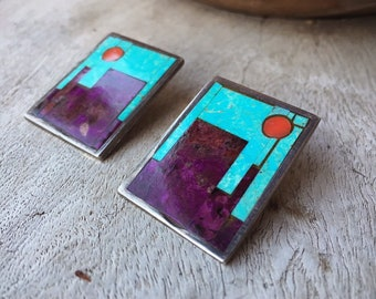 Vintage Signed Hopi Sugilite Turquoise Earrings Multi Gemstone Mosaic Inlay, Native America Indian Jewelry for Women