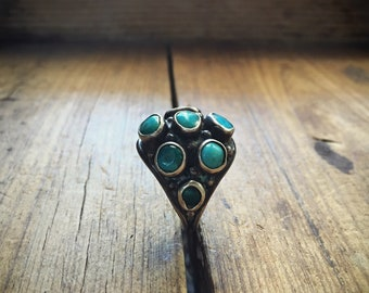 Vintage Turquoise Ring Navajo Jewelry, Turquoise Jewelry, Old Pawn Native American Indian Ring