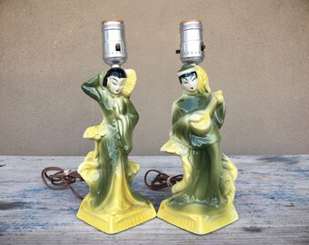 Vintage Table Lamps Chinoiserie Decor Retro Living Room, Small Lamps, Green Lamps
