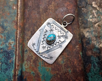 Navajo Melvin Francis Sterling Silver Turquoise Arrowhead Pendant, Native American Indian Jewelry