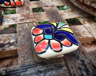 Mexican Ceramic Drawer Pulls Rustic Home Decor, Ceramics and Pottery, Talavera Tile, Bohemian Decor, Mexican Tile Drawer Knob