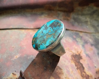 1940s Oval Turquoise Ring for Women Size 8 Native American Indian Jewelry, December Birthday Gift, Navajo Ring Real Turquoise, Men's Ring