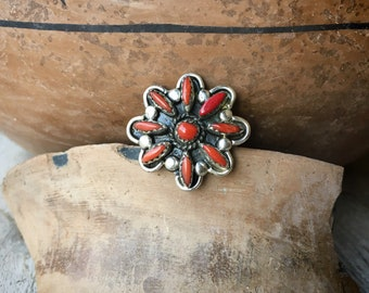 Small Zuni Red Coral Cluster Ring for Women or Girl Size 5.75, Native American Indian Jewelry