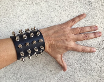 Thrash Metal Spiked Leather Bracelet for Women or Men, Third Anniversary Gift, Vintage Heavy Metal Studded Cuff Gothic Leather Wrist Band
