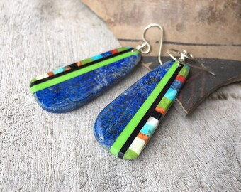 Multicolor Blue Lapis Slab Earring with Turquoise Multi Stone Dangles Santo Domingo Native America Indian Jewelry