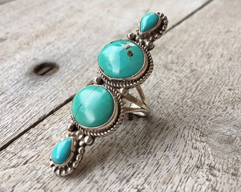 Size 7 Turquoise Ring for Women Navajo Long Ring Native American Indian Jewelry, Girlfriend Gift
