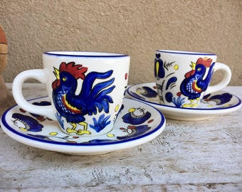 Set of Two Buffalo China Espresso Demitasse Cups and Saucers, Chicken Collectibles for the Kitchen