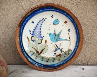 "Signed Ken Edwards Pottery 10"" Plate with Blue Bird and Butterfly Design, Southwestern Decor"