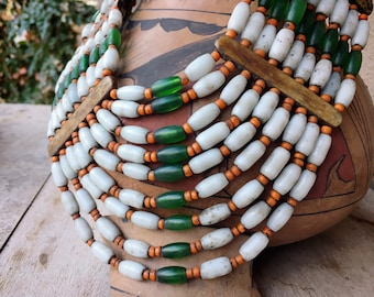 Konyak Naga Traditional Necklace for Women, Shield Bib Collar White Green Orange Glass Trade Beads
