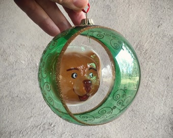 Vintage German Glass Ornament Painted Two-Dimensional Bear Face Inside, Christmas Tree Ornament