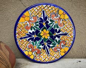 "10-1/4"" Mexican Talavera Plate Wall Hanging Yellow Blue, Rustic Southwestern Home Decor, Folk Art"
