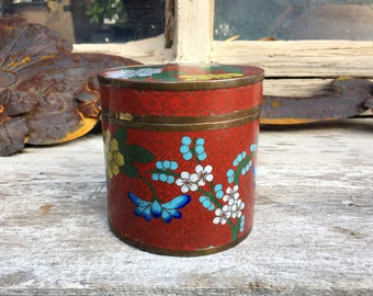 Chinese Cloisonne Tea Canister Box, Enamel Copper Trinket Box, Chinoiserie Decor, Container with Lid