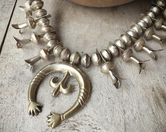 Vintage Sterling Silver Squash Blossom Necklace Native American Indian Jewelry, Southwestern Old Pawn