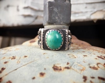 Small Fred Harvey Era Cerrillos Turquoise Ring Size 6, Native American Indian Southwestern Jewelry