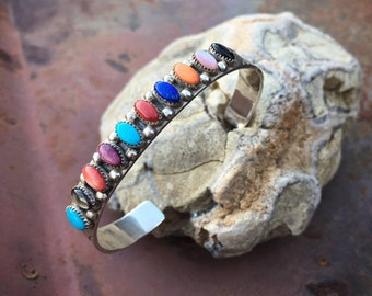 Multi Stone Sterling Silver Spiny Oyster Turquoise Cuff Bracelet for Women, Signed Zuni Native American Indian Jewelry