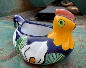 Small Vintage Talavera Planter Sitting Hen, Mexican Folk Art, Chicken Lover Gifts, Farm House
