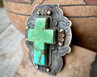Navajo Dean Sandoval Jr. Large Sterling Silver Turquoise Cross Ring Size 7.75, Native American