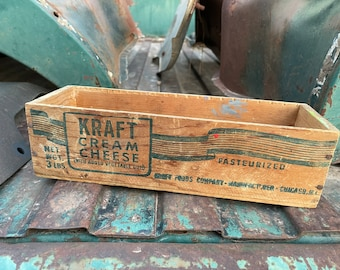 1940s Small Wood Crate Kraft Cream Cheese, Vintage Box, Potted Plant Holder, Farmhouse Decor