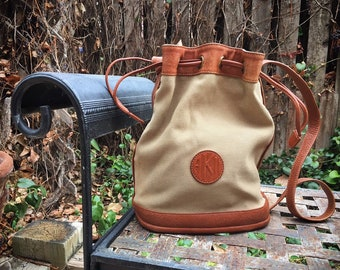 Vintage Anne Klein Bucket Bag Beige Tan with Leather Trim and Handle, Boho Festival Tote