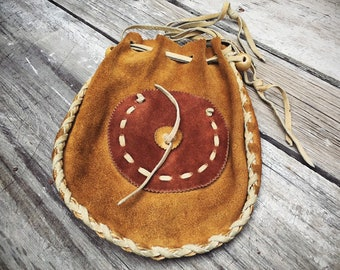 Vintage Leather Drawstring Purse Brown Suede with Buckskin Lace and Straps, Native American Indian Medicine Bag