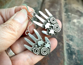 Sterling Silver Hand Shaped Earrings by Alex Sanchez, Native American Indian Labyrinth Jewelry