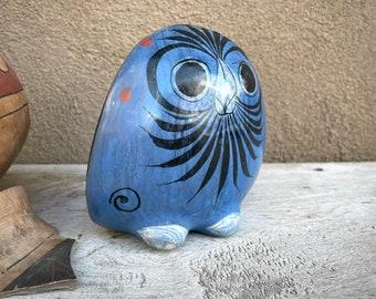 Burnished Pottery Owl Statue Tonala Mexican Pottery Southwestern Decor Blue Black, Folk Art