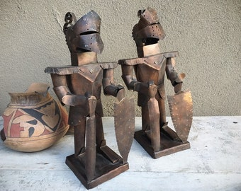 Pair of 1960s Metal Knight Sculptures Spanish Conquistador Statues, Southwestern Rustic Home Decor Medieval Times