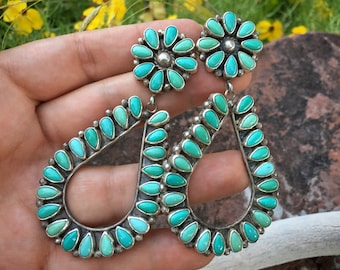 "34g 3-1/4"" Turquoise Cluster Hoop Earrings by Navajo Sheila Tso, Native American Indian Jewelry, Huge Statement Western Southwestern Fashion"