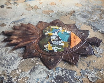 Mexican Tin Art Heart Milagro Ex Voto Painting, Catholic Art, Religious Folk Art for Altar