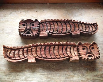 Pair of Small Carved Wood Lion or Cat Wall Hangings in Tarahumara Style, Southwestern Rustic Decor