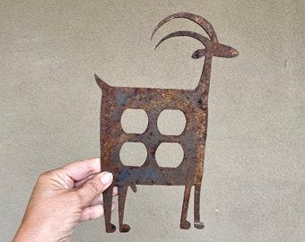 Southwestern Rusty Metal Light Switch Cover of Mountain Goat Design, Vintage Switchplate, Folk Art