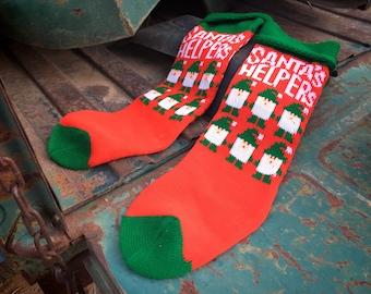 Pair of 1980s 90s Christmas Knit Stockings Santa's Helpers Elves Red Green, Retro Christmas Decor