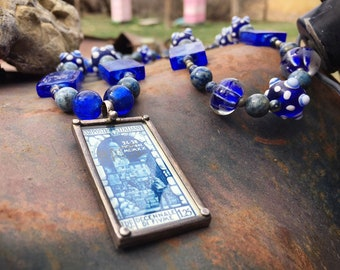 Vintage Handmade Beaded Necklace with Cobalt Blue Lampwork Beads and Italian Postage Stamp Pendant