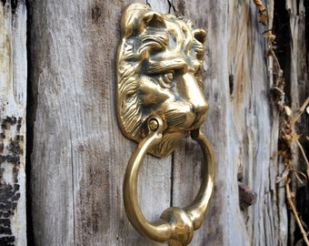 Vintage Heavy Cast Brass Lion Door Knocker, Architectural Salvage, Victorian Front Door