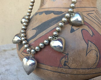 Mexican Silver Bead and Puffy Heart Necklace for Women, Friendship Charm Jewelry, Valentine's Day