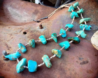 1940s-50s Turquoise Nugget Heishi Necklace for Women, Native America Indian Santo Domingo Jewelry