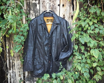 Vintage Eddie Bauer Jacket Men's Size 38 Dark Brown Leather Removable Down Vest Lining
