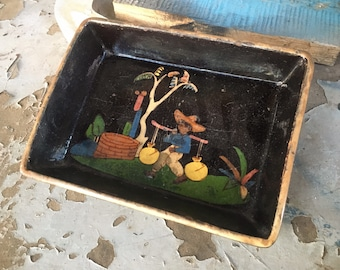 1940s Black Tlaquepaque Dish with Working Life, Mexican Pottery, Rustic Southwestern Decor