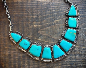 1960s Turquoise Bib Collar Necklace for Women, Signed Navajo Native America Indian Jewelry, Statement Necklace, Anniversary Gift Wife